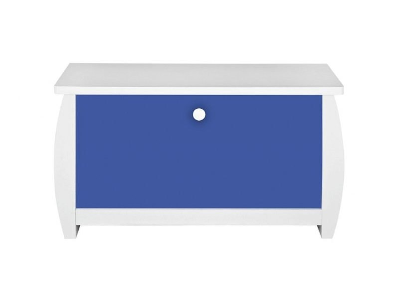 White toy chest with blue front panel