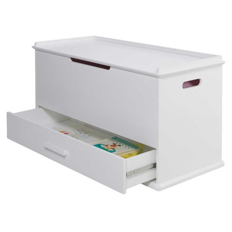 White Toy Chest with Lower Drawer
