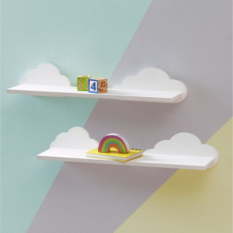 Pair of cloud themed wall shelves