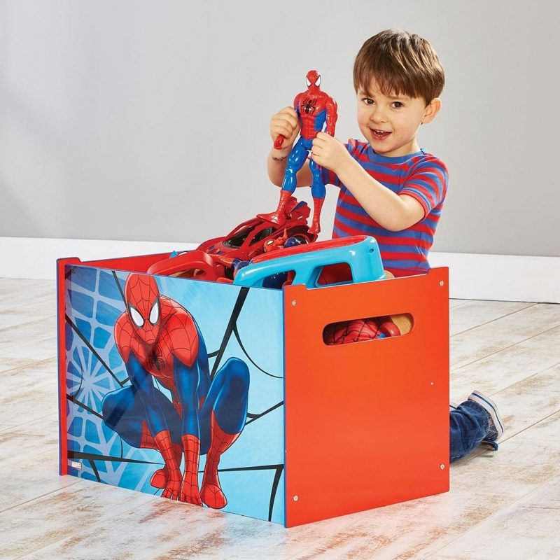 Red and blue Spiderman theme toy chest