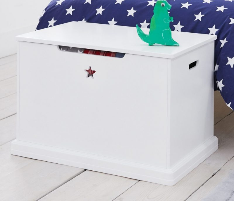 White painted toy chest with star cut-out