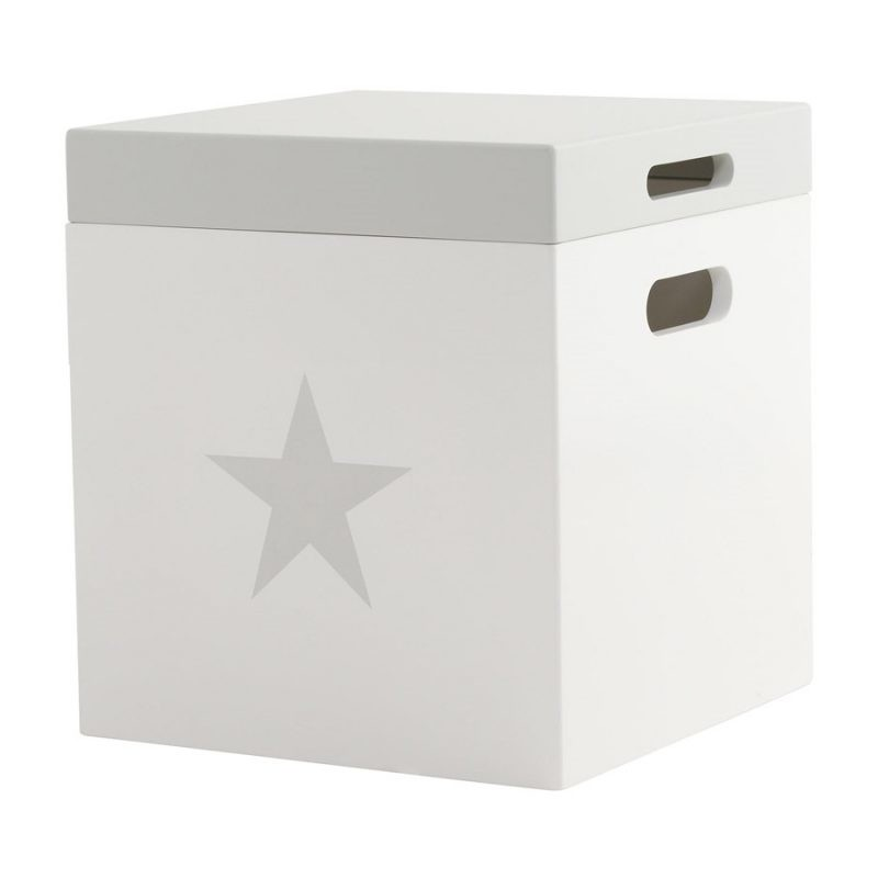 Cube storage stool with star motif