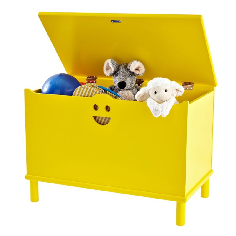 Bright yellow toy chest with smiley face cut-out