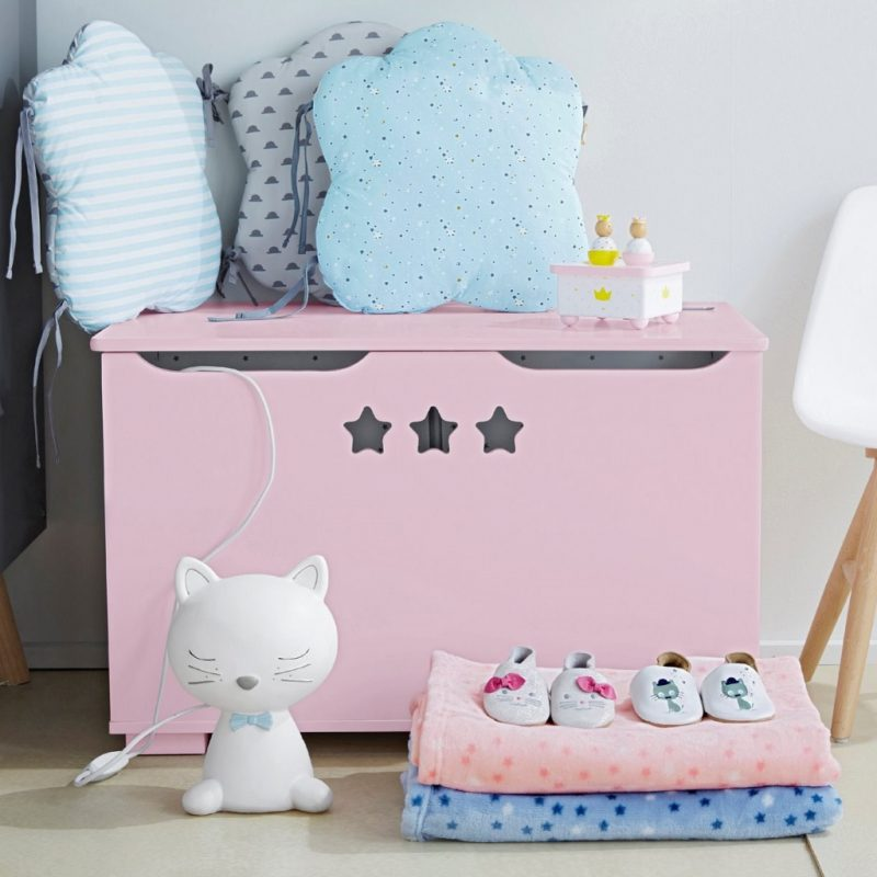 Pink toy chest with 3 star cut-outs