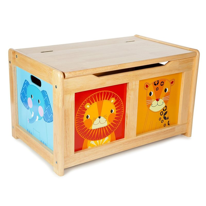 Jungle theme wooden toy chest