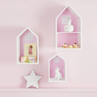 Set of 3 house style display shelves with a pink back