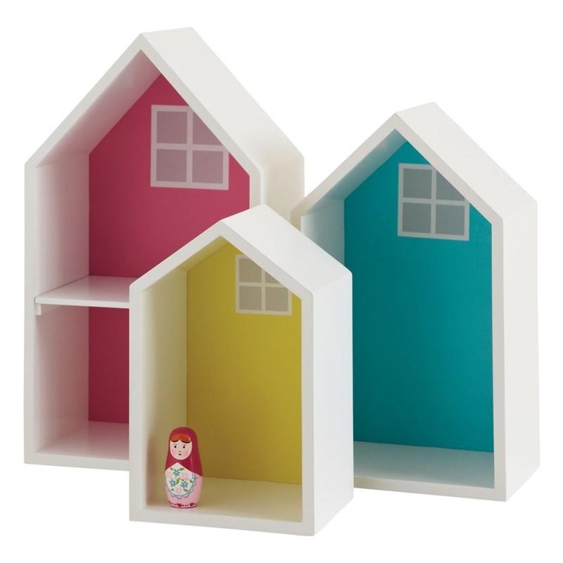 Set of 3 house shaped display shelves