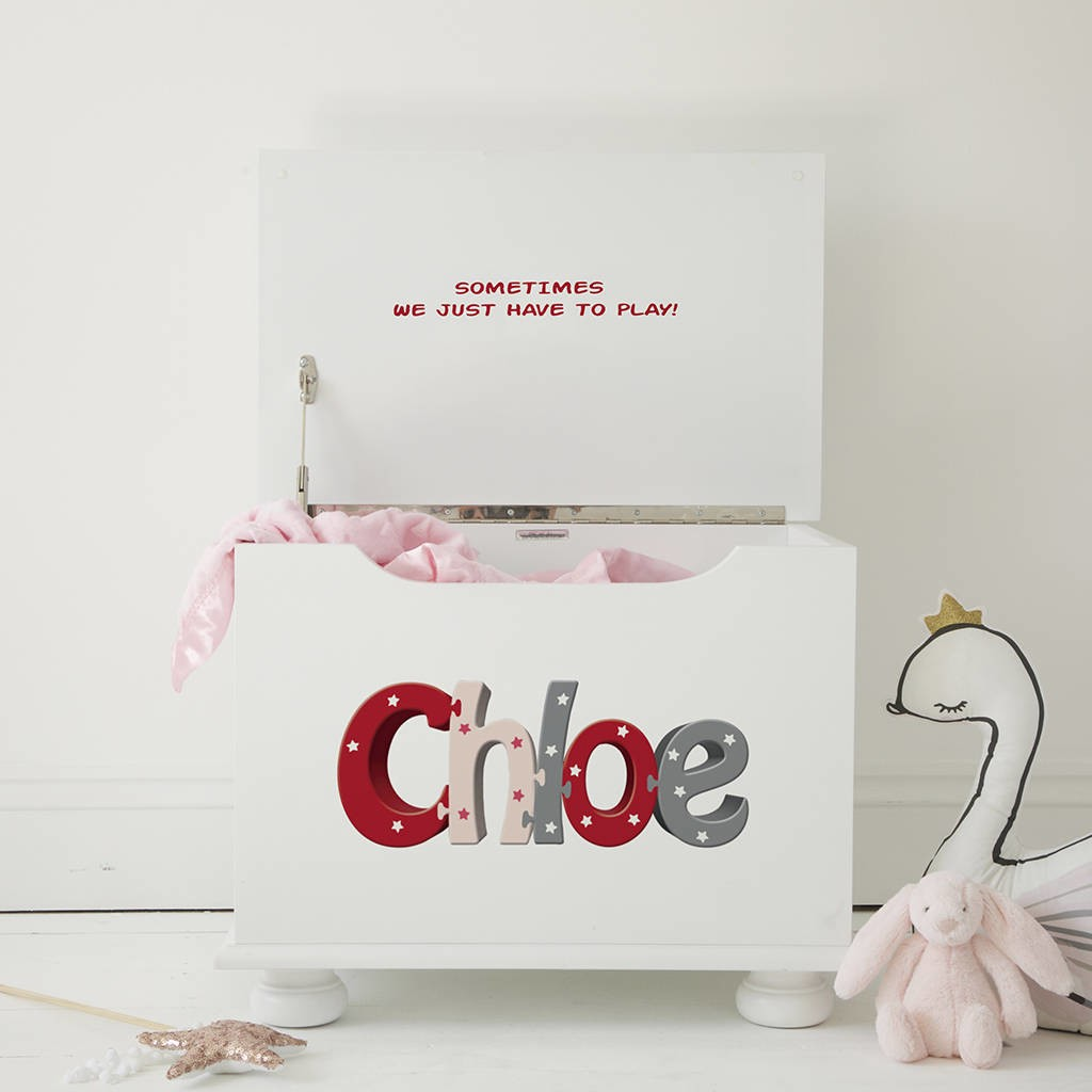 White personalised toy chest