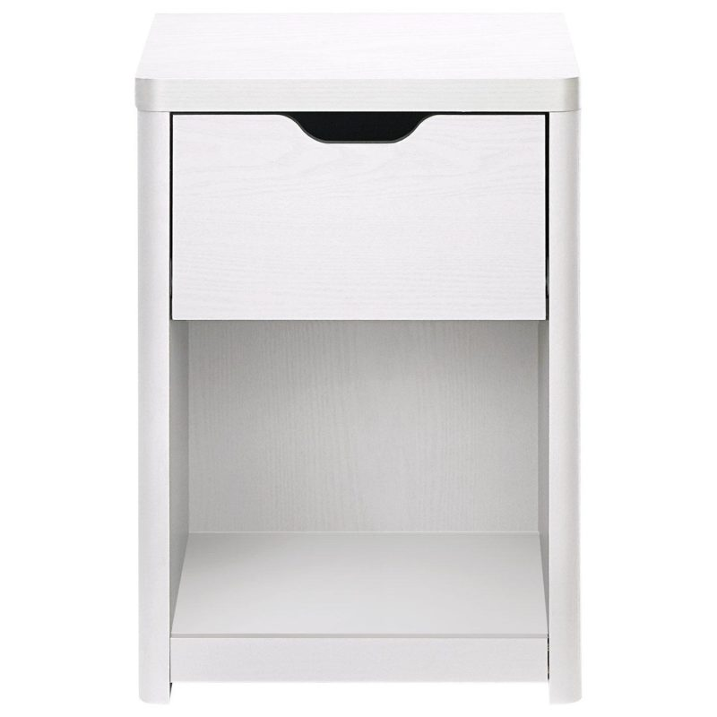 White bedside unit with drawer