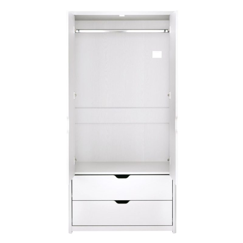 White 2-door wardrobe with 2 drawers