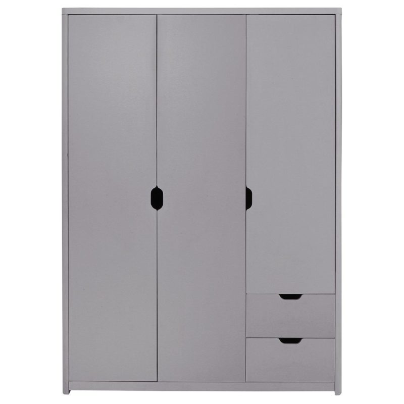 Grey 3-door wardrobe