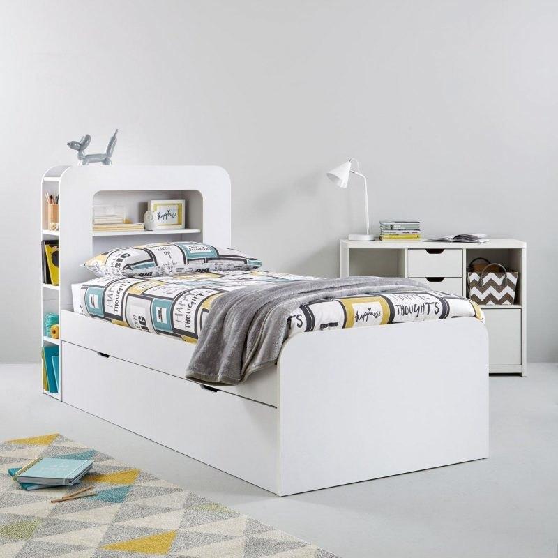 White single storage bed