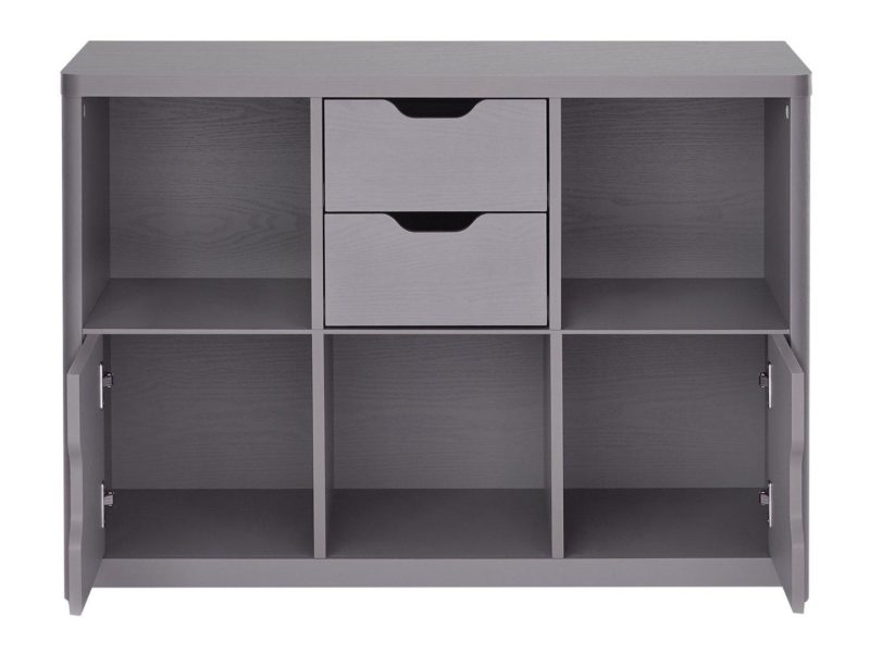 Grey storage unit with drawers, cupboards and open shelving