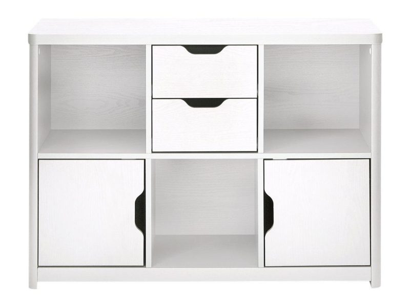 White storage unit with shelves, drawers and cupboards