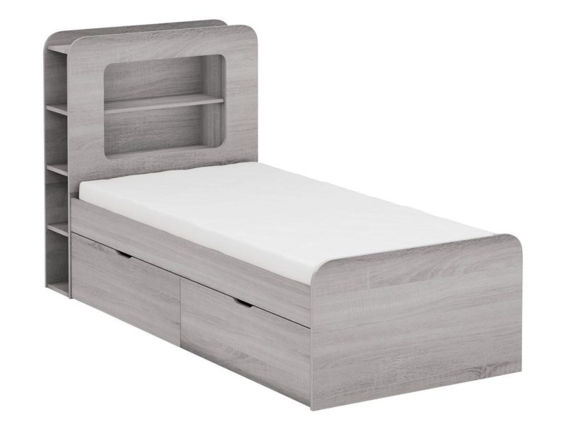 Grey woodgrain storage bed