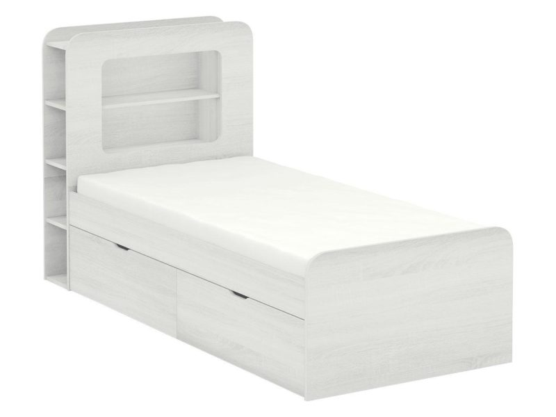 White woodgrain effect storage bed