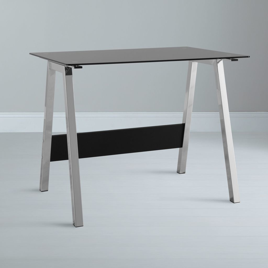 Contemporray style desk with black glass top