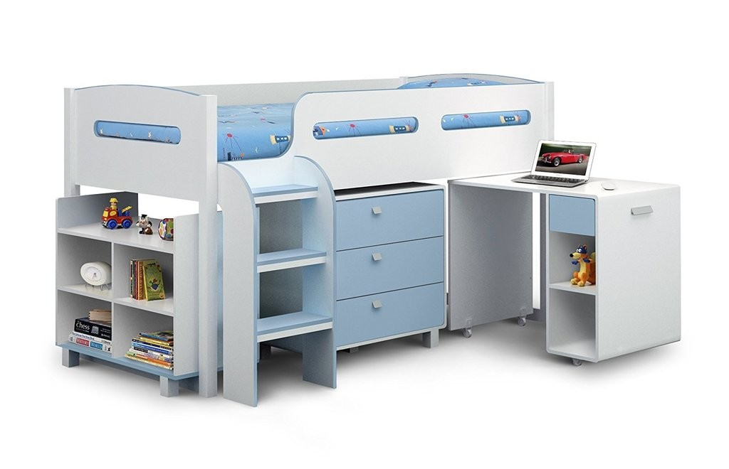 Storage cabin bed in white and blue