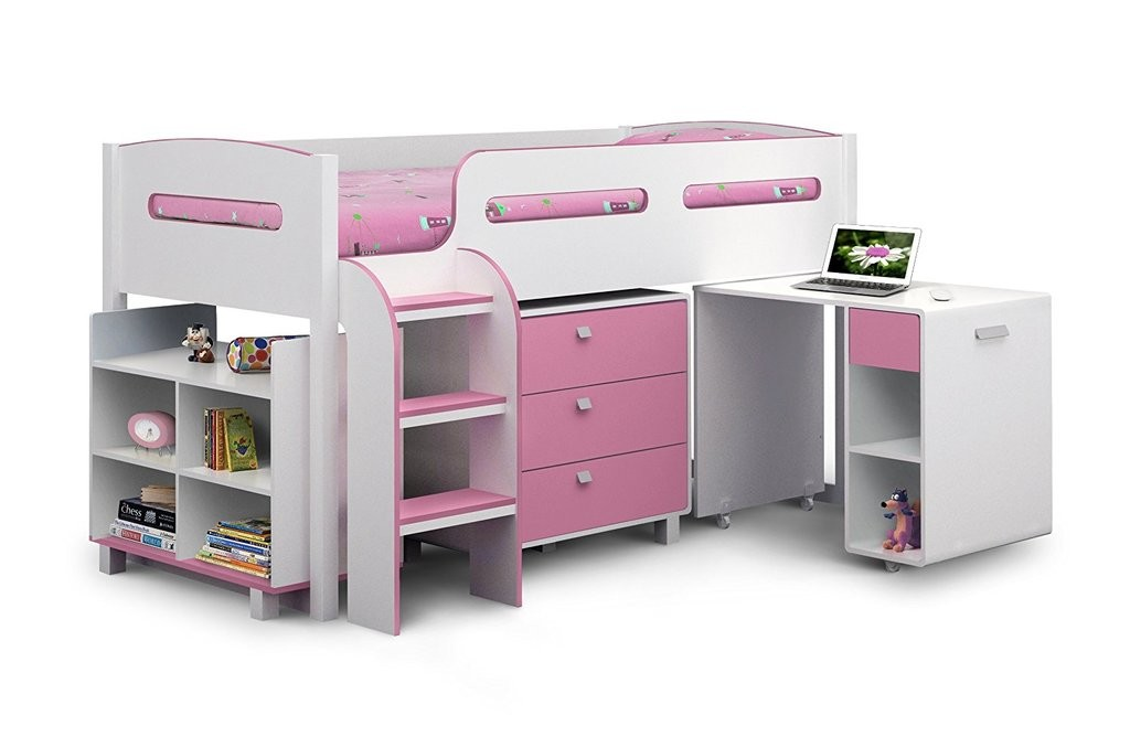 Storage cabin bed in white and pink