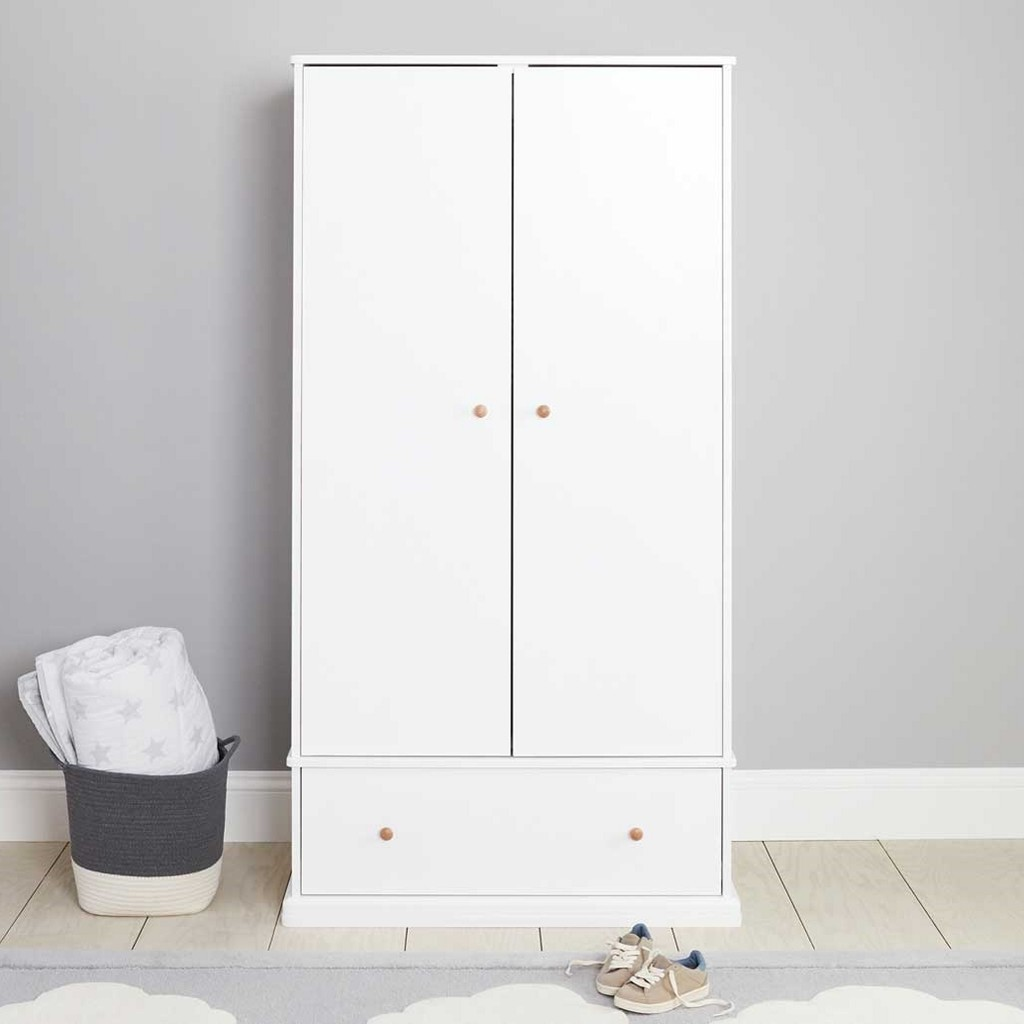 White 2 door wardrobe with drawer