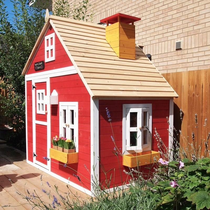 Brightly painted children's playhouse