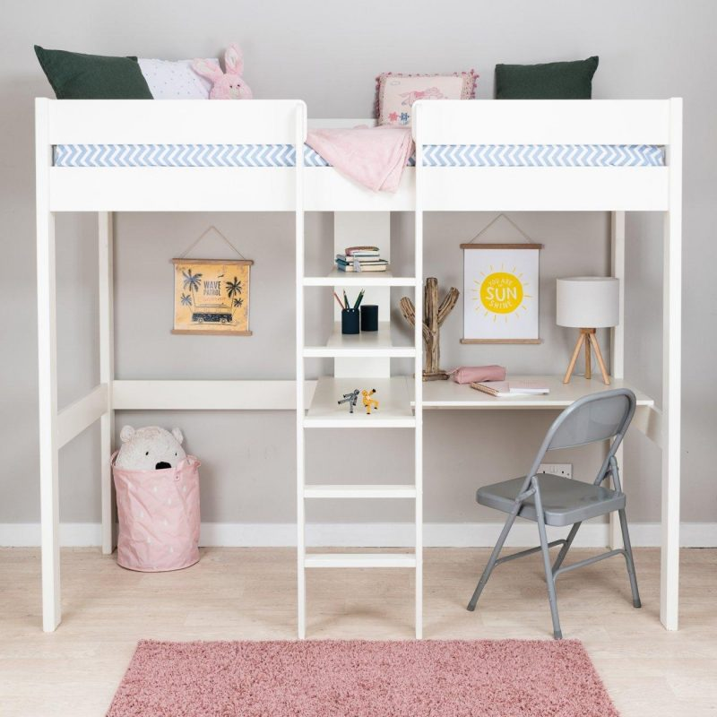 White high sleeper with desk and shelves