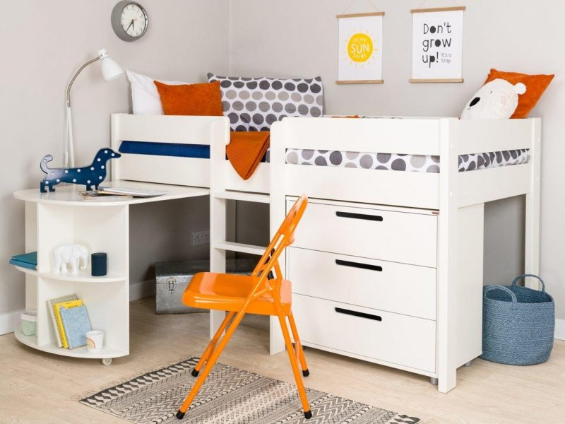 Mid-sleeper bed with drawers and desk
