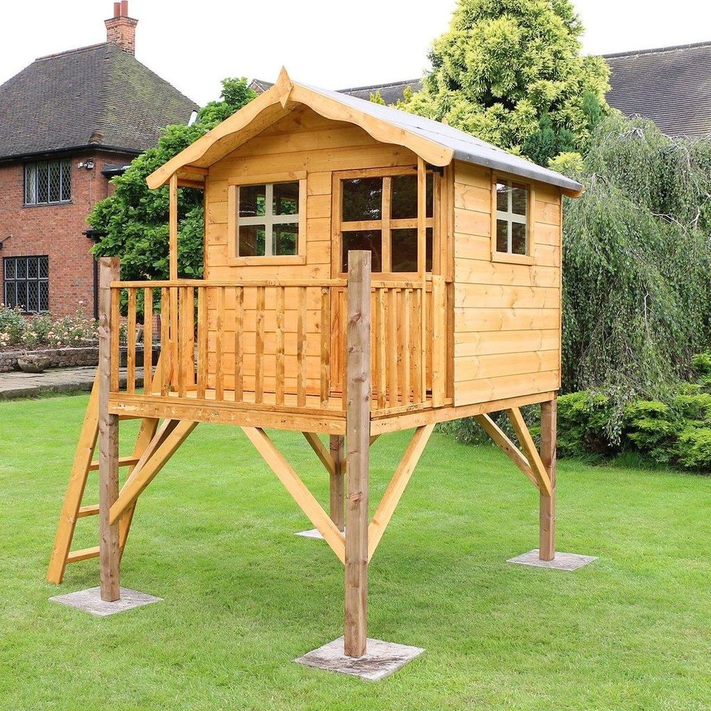 Outdoor playhouse on stilts