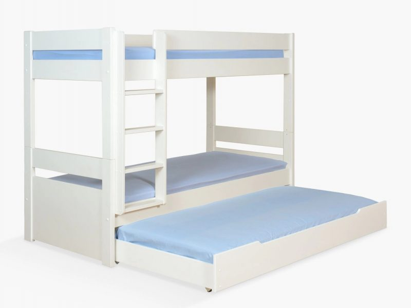 White-painted bunk bed with pullout guest bed