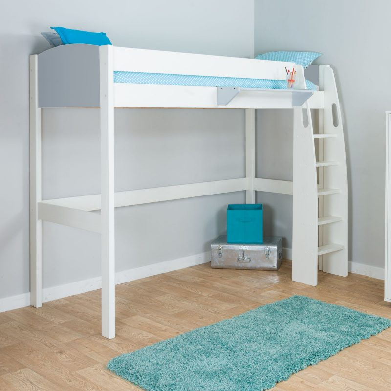 White-painted high sleeper with grey panels