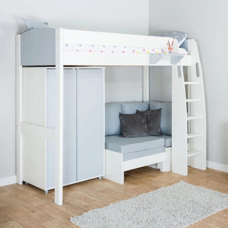 Kid's bed with sofa and wardrobe underneath