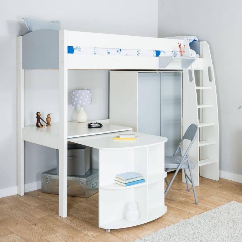 High-sleeper bed with wardrobe and desk