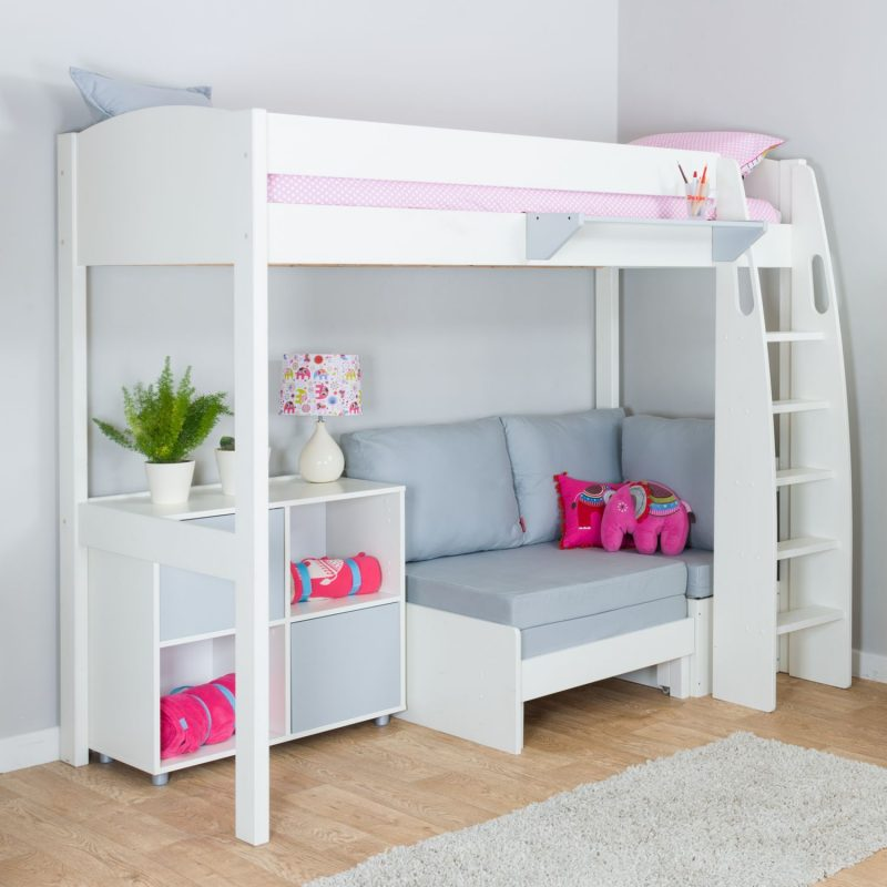 High-sleeper bed with chair bed and storage unit