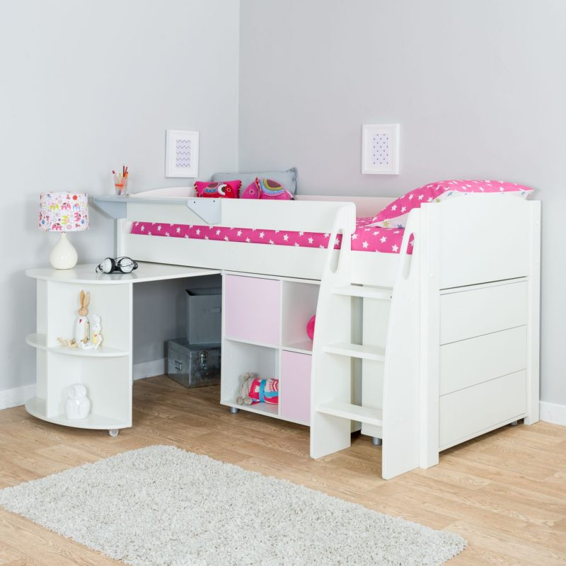 Cabin bed with drawers, cube storage unit and pull-out desk