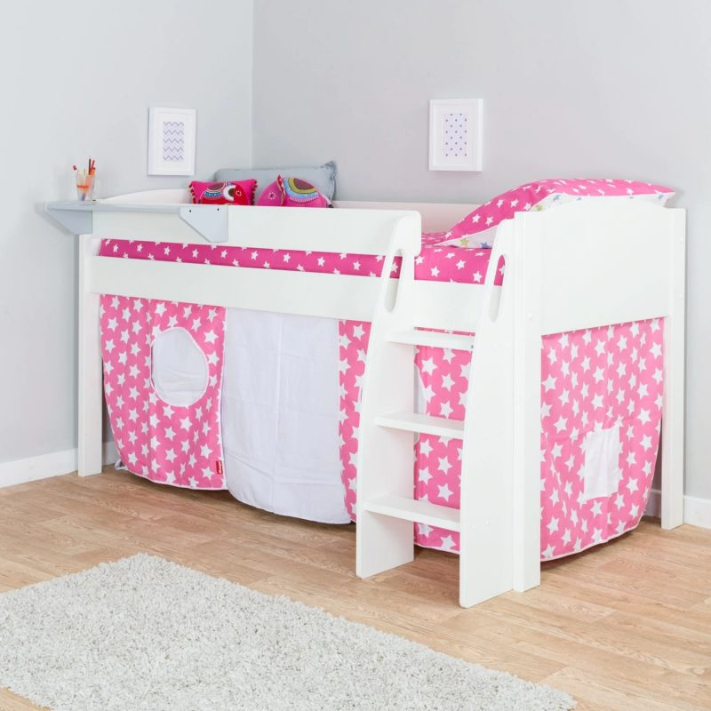 White mid-sleeper with stars print tent curtains