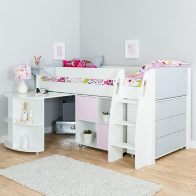 Storage cabin bed with grey and pink trim