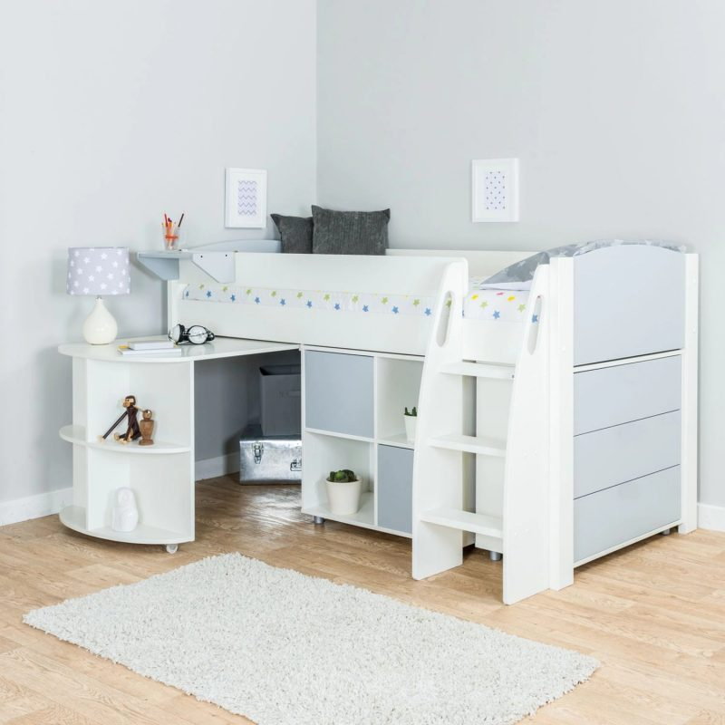 Mid-sleeper with cube storage, desk and drawers