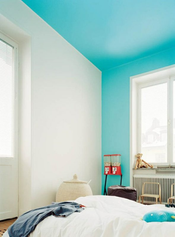 White walls with a an aqua coloured ceiling