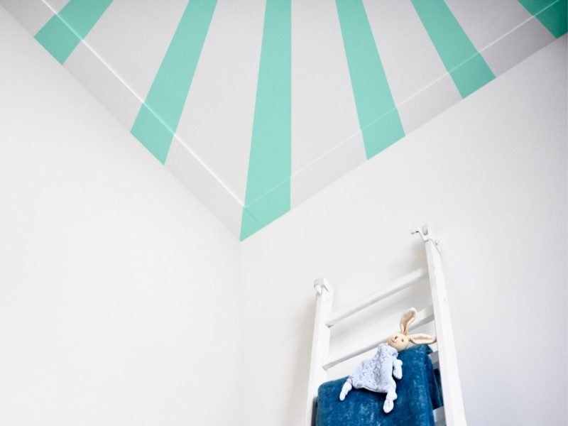 Painted ceiling with bold stripes
