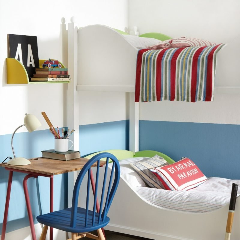 A pale grey and blue childrens room scheme