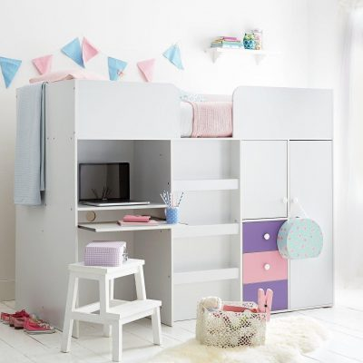 Storage high-sleeper with pink and purple drawers