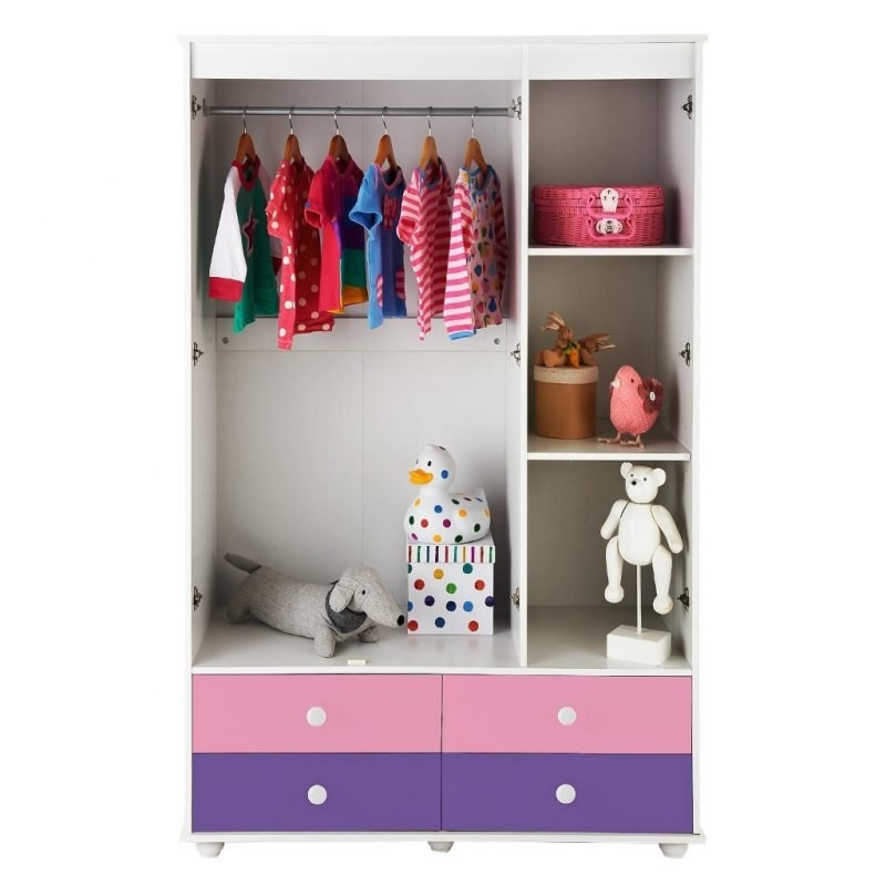 Wardrobe with pastel coloured drawers