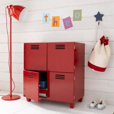 Red, 4-door locker style cabinet
