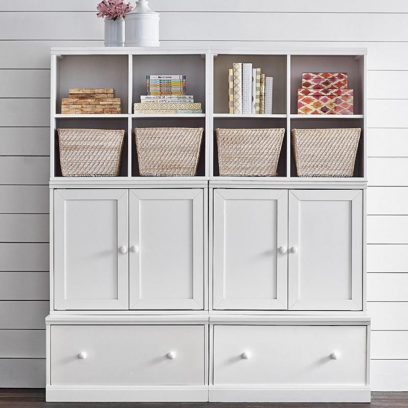 White painted modular units with drawer base
