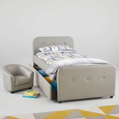 Faux lether upholstered bed and matching tub chair