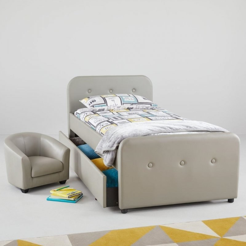 Faux leather upholstered bed and matching tub chair