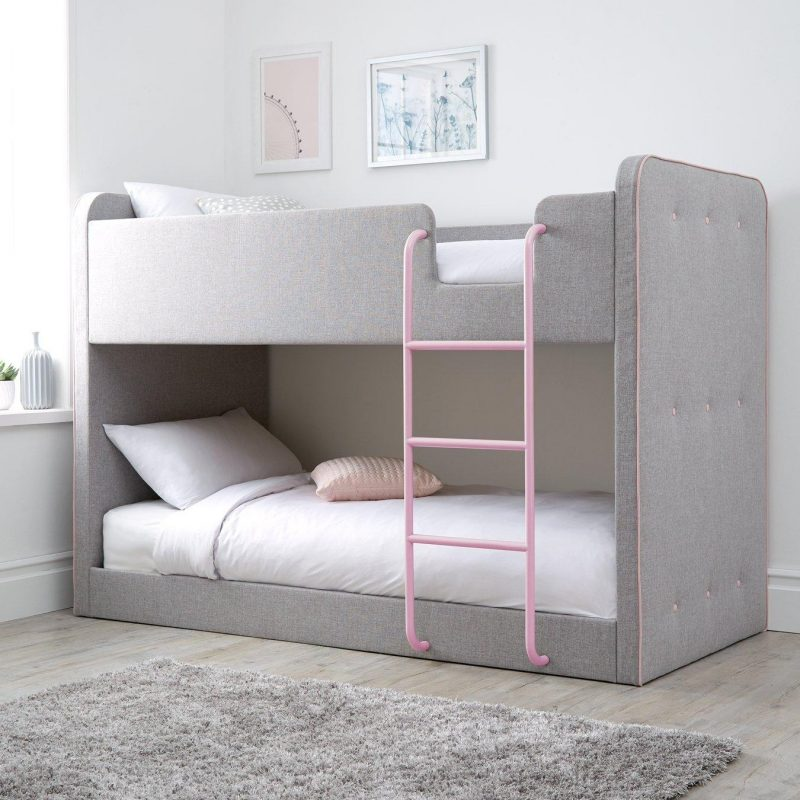 Grey fabric upholstered bunk bed with pink trim
