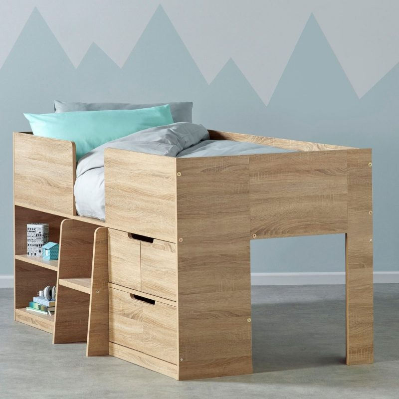 Children's oak effect cabin bed