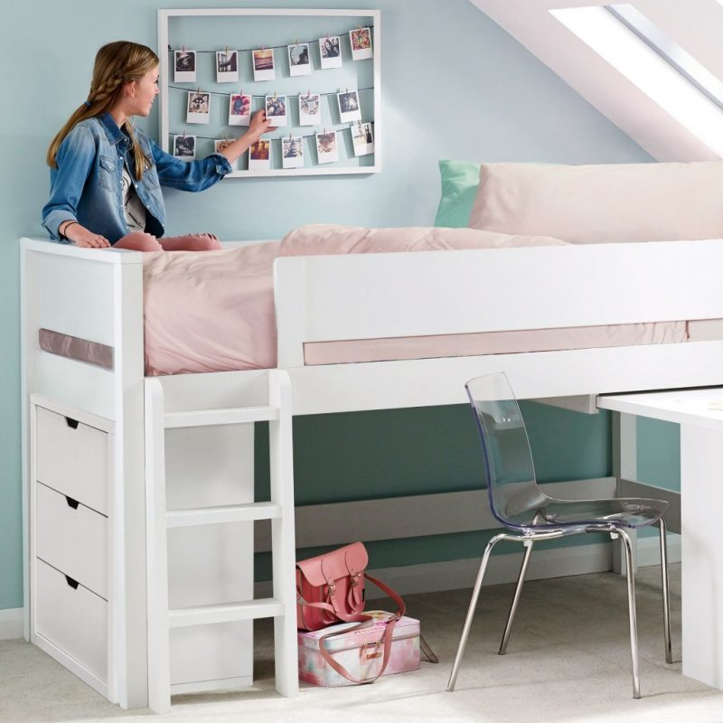 Children's white painted mid sleeper bed