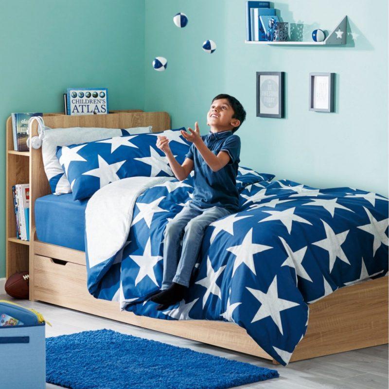Children's oak effect storage divan bed
